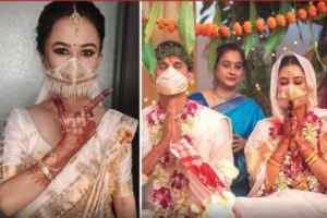bride wore embroidery work masks at the wedding